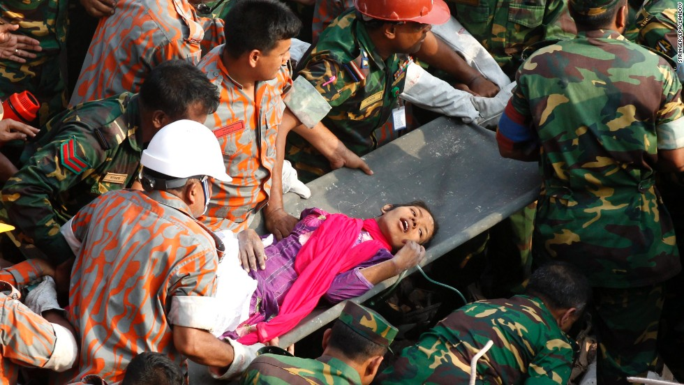 "Seventeen days after a building collapsed in Savar, Bangladesh, rescuers pull <a href=""http://www.cnn.com/2013/05/10/world/asia/bangladesh-building-collapse/index.html"" target=""_blank"">Reshma Begum</a> from the rubble in May 2013. More than 1,000 people died after the nine-story garment factory building fell on April 24."