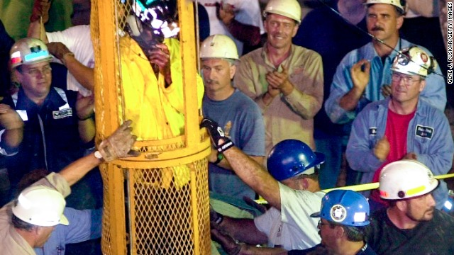 SOMERSET, PA - JULY 28:  Miner Mark Popernack is rescued from the Quecreek Mine in the early morning of July 28, 2002 in Somerset, Pennsylvania. All nine miners were successfully rescued after being trapped in a flooded mine shaft since July 24, 2002 which was located approximately 240 feet underground.  (Photo by Gene J. Puskar-Pool/Getty Images)
