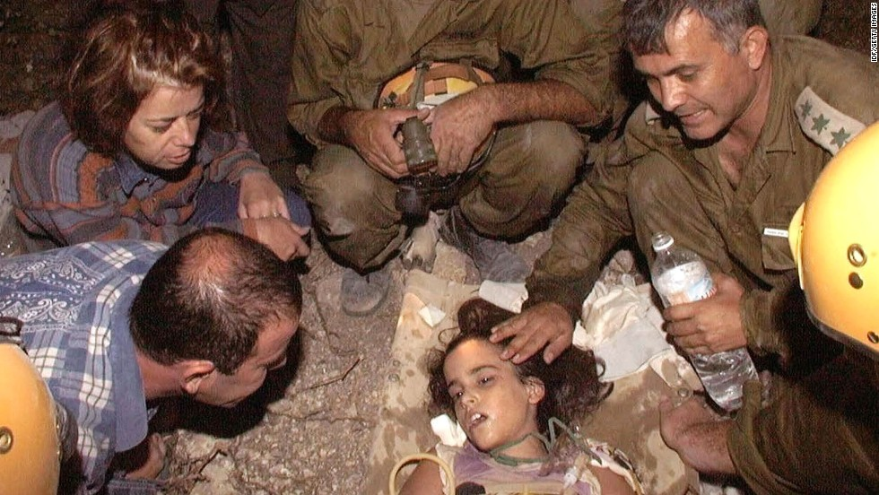 "<a href=""http://www.independent.co.uk/news/earthquake-miracle-nineyearold-girl-found-alive-after-98-hours-1114169.html"" target=""_blank"">Shiran Franco</a>, a 9-year-old Israeli girl, is rescued on August 21,1999, around 100 hours after a building collapsed on her during an earthquake in Cinarcik, Turkey. Her family had been on vacation. Shiran's twin brother, father and grandparents were found dead, but her mother survived after pulling herself from the building after 30 hours."