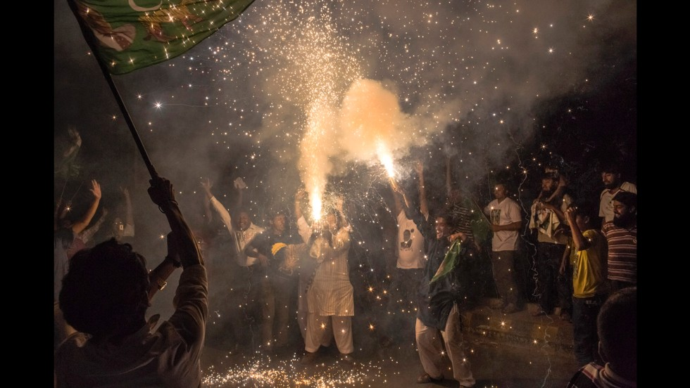 Sharif's supporters celebrate May 11 in Lahore.