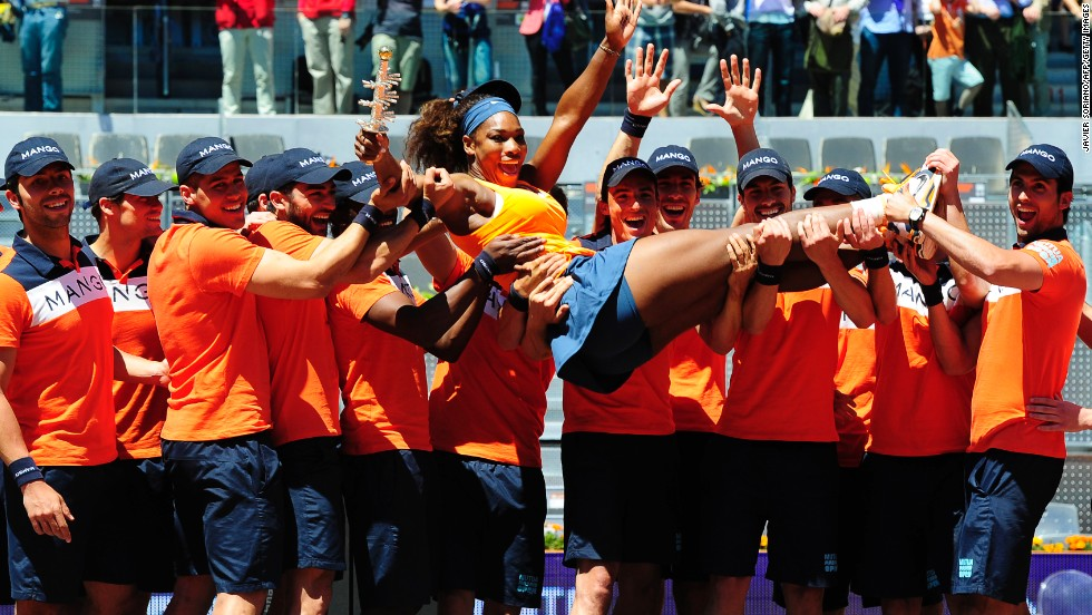 Top-ranked Serena Williams celebrates after defending her title in Madrid, beating world No. 2 Maria Sharapova in the final.