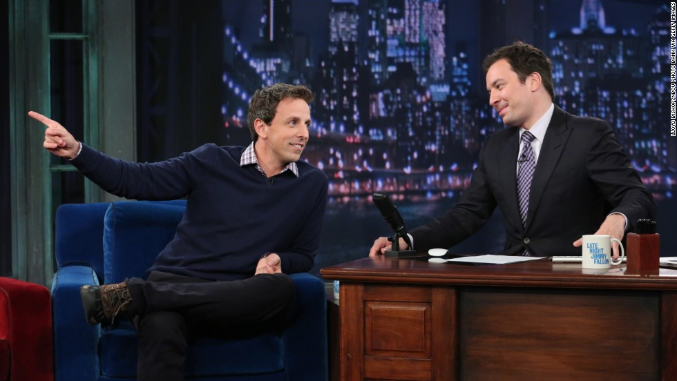 "Meyers, left, appears as a guest with Jimmy Fallon on ""Late Night With Jimmy Fallon,"" on October 29, 2012."