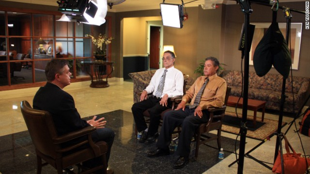 CNN's Martin Savidge interviews Onil, left, and Pedro Castro about their brother Ariel's alleged crimes.