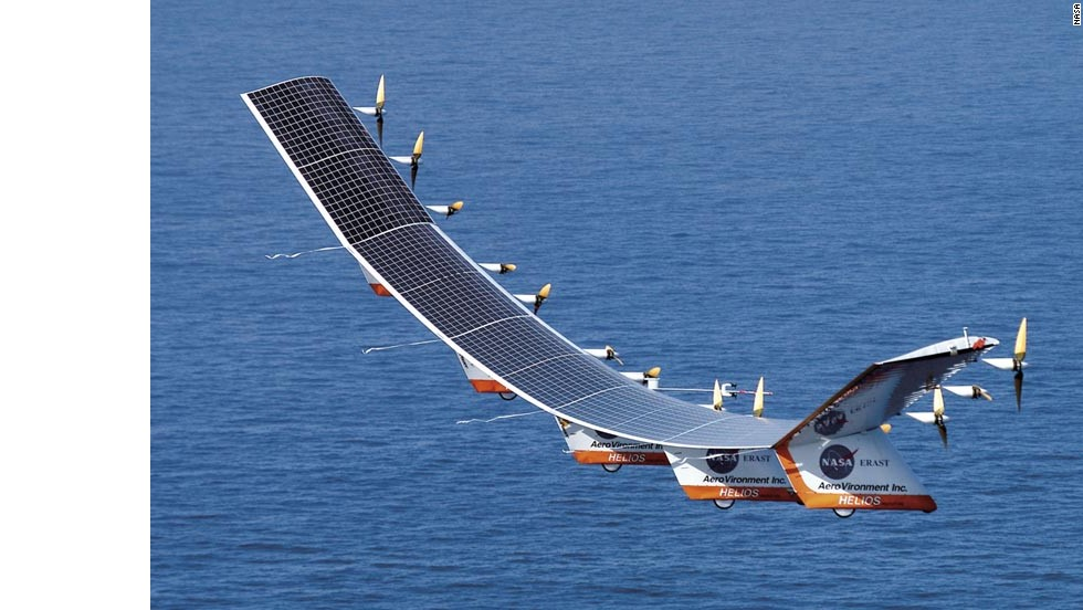 "NASA's Helios was a prototype high-altitude, long-duration unmanned solar-powered aerial vehicle. In 2001, Helios reached an altitude of 96,863 feet, breaking an official world record altitude for a non-rocket-powered aircraft. In <a href=""http://www.nasa.gov/centers/dryden/history/pastprojects/Helios/"" target=""_blank"">2003, Helios broke apart in flight</a> during heavy turbulence."