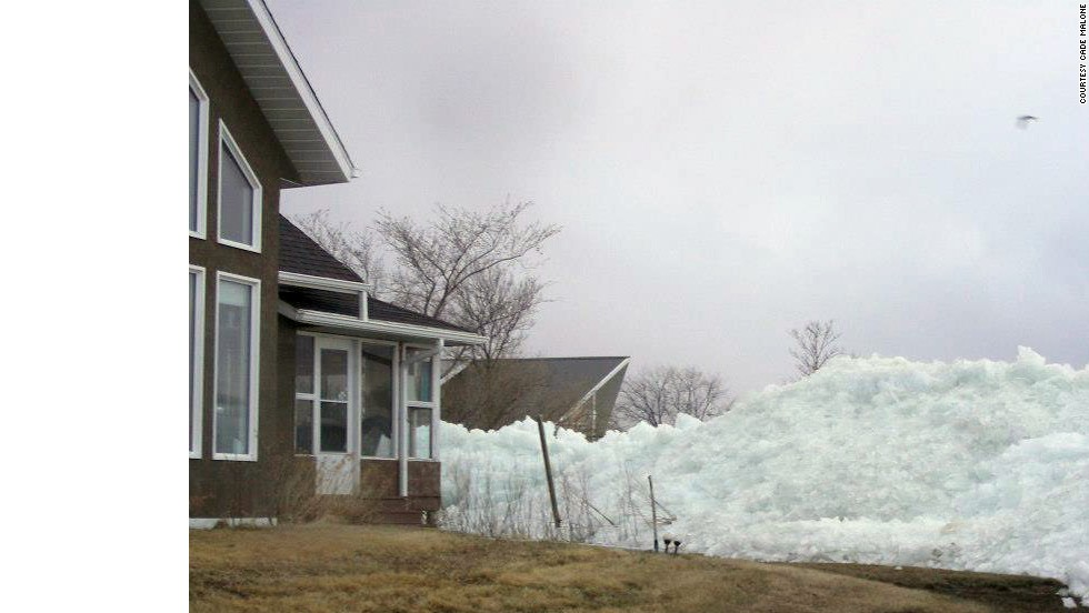Ice surrounds a home on May 12.