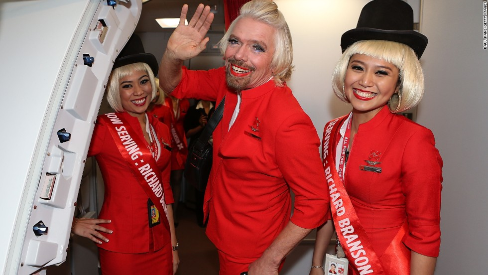 The AirAsia special charity flight took off on Sunday from Perth, Australia, for Kuala Lumpur. The five-and-a-half hour journey with flight attendant Branson raised almost A$200,000 for the Australia-based Starlight Children Foundation.