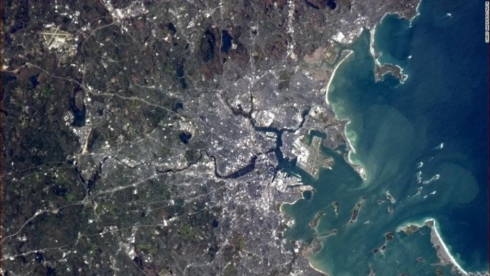 """One can also get some stunning views of space from the space station, as seen in many of Hadfield's photos. He tweeted a <a href=""""https://twitter.com/Cmdr_Hadfield/status/333724622979743744"""" target=""""_blank"""">stunning image of Boston</a> on May 12. """"Hope your Bruins play a memorable game tonight vs. the Leafs,"""" Hadfield said to Boston's hockey fans."""