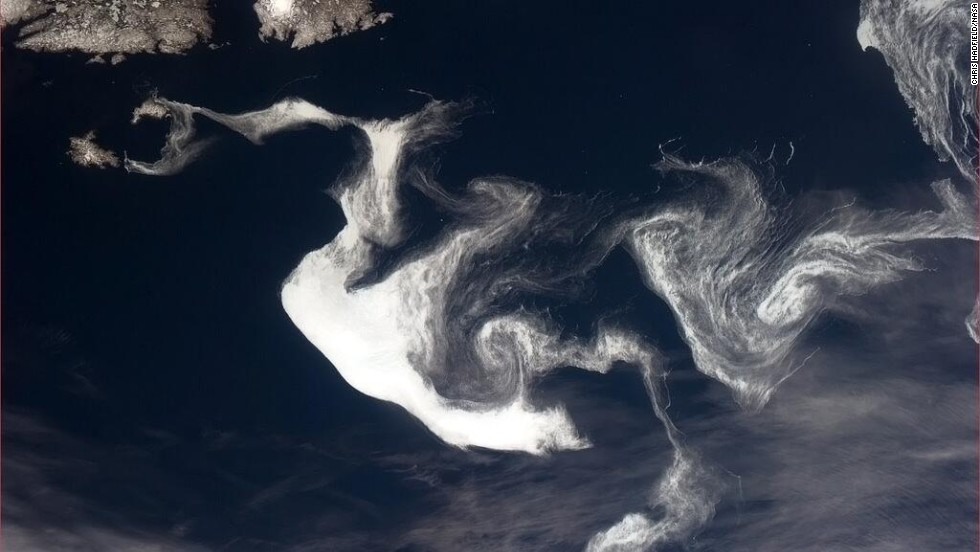 "Hadfield described this formation, shown in a photo posted May 13, as ""a <a href=""https://twitter.com/Cmdr_Hadfield/status/330051051921227779"" target=""_blank"">heraldic Spring dragon</a> of ice"" off the coast of Newfoundland."