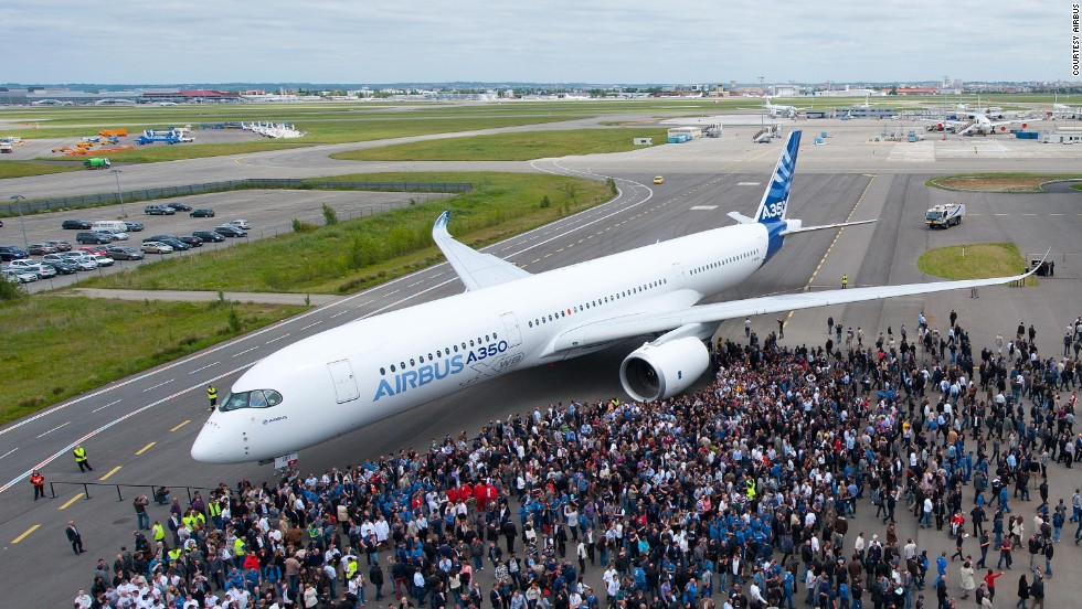Who's a pretty boy then? Airbus' first completed A350 XWB is unveiled with a full paint-job in Toulouse, France on May 13, 2013. The plane is set to rival Boeing's 787 Dreamliner in the mid-size aircraft market.