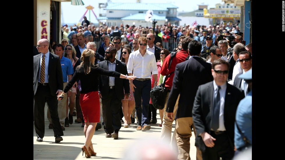 Prince Harry, center, tours Seaside Heights, New Jersey, on May 14. Prince Harry will be attending engagements on behalf of charities supporting injured service personnel from Britain and the United States.