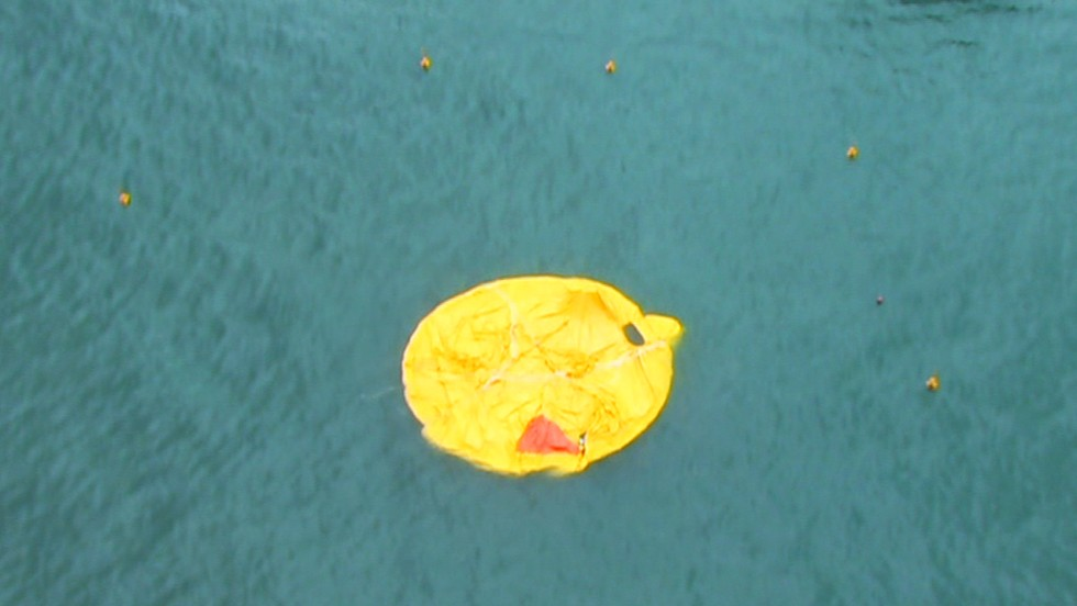 No inflatable fun here. A yellow slick is all that remains of the duck.
