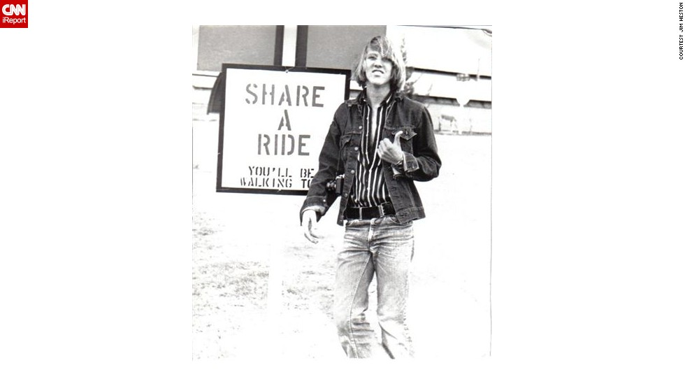 "Clothing became another way for young people to challenge norms and minimize the gender gap, paving the way for the mainstreaming of jeans across all spectrums of society. Shown here in 1975, <a href=""http://ireport.cnn.com/docs/DOC-970927"">Jim Heston</a> wore the belt buckle on the side of his waist."
