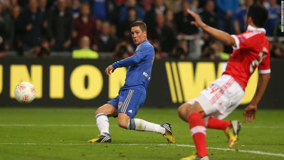 Despite being under pressure for much of the 2013 Europa League final, Fernando Torres raced clear to fire home in style and Chelsea the lead.
