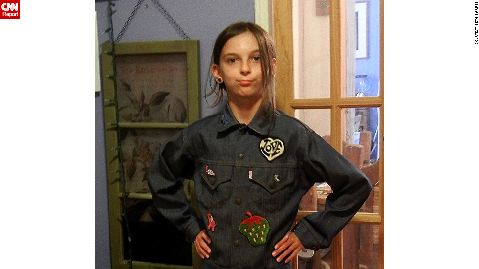 "Just about every '80s kid in America <a href=""http://ireport.cnn.com/docs/DOC-966292"">had a jean jacket</a>, preferably with patches, pins or rhinestones. In 1983, when Beth Barret was 13, her mom bought her this jacket and her grandmother sewed the patches. Barret's daughter, shown here in May, often wears it now."