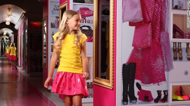 Barbie's pink digs display her extensive wardrobe and an apparent shopping addiction.
