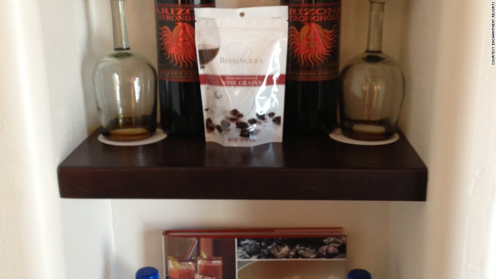 "Some hotels have tried to entice guests towards the minibar with open displays and more imaginative product options. Here, locally sourced wine and snacks are displayed in a suite at the <a href=""http://enchantmentresort.com/"" target=""_blank"">Enchantment Resort</a> in Sedona, Arizona."