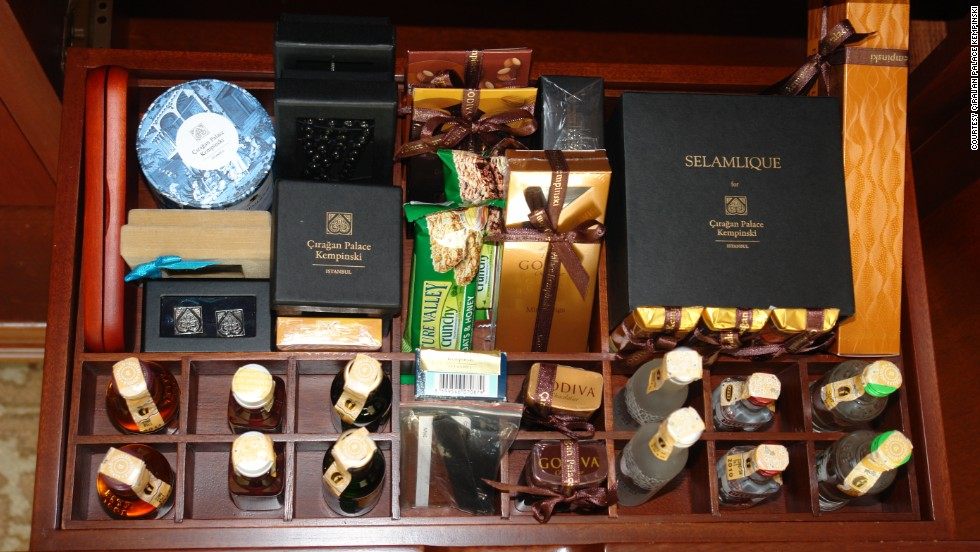 "The <a href=""http://www.kempinski.com/en/istanbul/ciragan-palace/welcome/"" target=""_blank"">Cıragan Palace Kempinski</a> in Istanbul, Turkey, goes all out-on culture, stocking its minibar with signature local treats such as chocolates, coffee and Turkish delights."