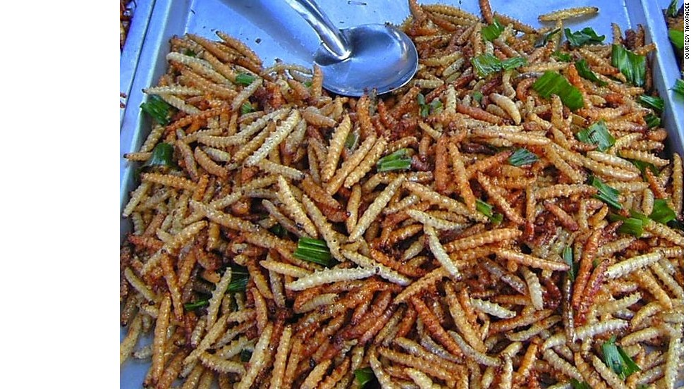"These long worms are considered delicacies in Thailand and many other southeast Asian countries. Called rot duan (meaning ""express train"") in Thai, the bamboo worm is commonly served as a deep-fried snack. They are normally found on sale via bug carts at night all over Thailand. CNN Travel's Bangkok resident Karla Cripps describes them as ""delicious"" and says a small bag of them costs 20 baht (around 65 cents)."