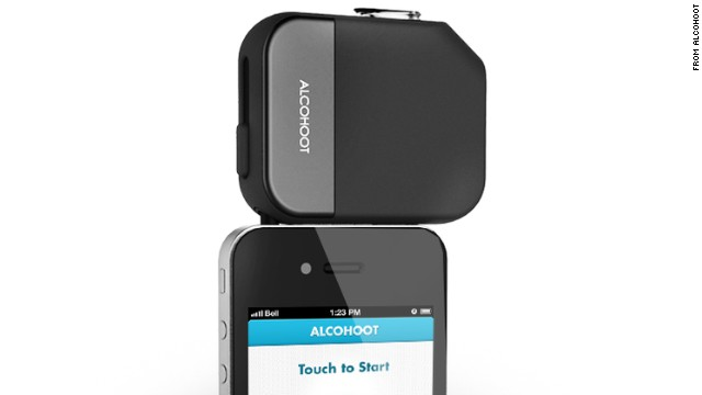 Alcohoot's breathalyzer device plugs into a smartphone.