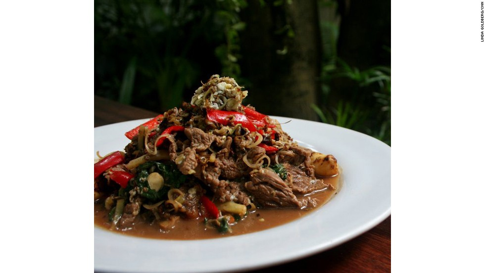 Tourists will find this Cambodian insect dish slightly more appealing than the giant spiders. Mixed in with beef and holy basil, the red tree ants add a sour flavor to this stir-fried dish.