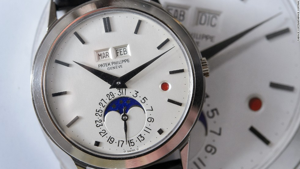 This 1981 perpetual calendar wristwatch with moon phases and leap-year by Swiss watchmaker Patek Philippe $1.7 million at a Christie's sale in Geneva in May 2013.