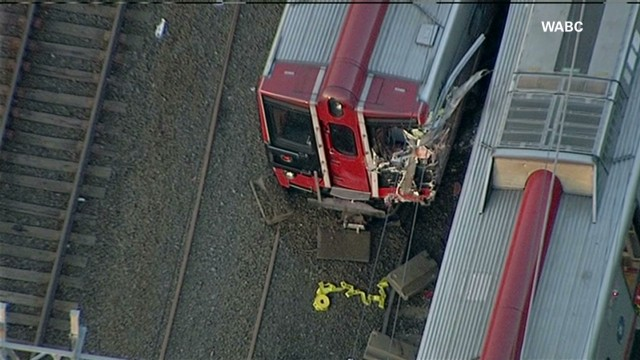Raw video of crumpled train