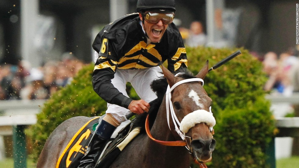 Oxbow, with jockey Gary Stevens in the irons, wins the 138th running of the Preakness Stakes at Pimlico Race Course in Baltimore on Saturday, May 18.