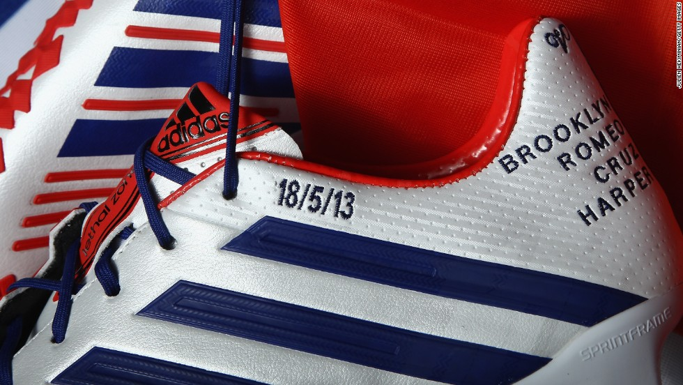 Beckham's boot sponsors Adidas had prepared a special edition for the match against Brest -- bearing the date and the names of his children.