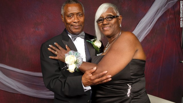 Ethel and Eugene Arms pose for a prom photo.
