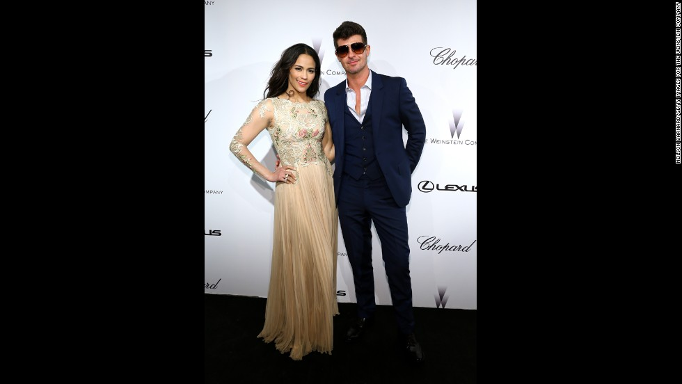 Paula Patton and Robin Thicke attend The Weinstein Company Party at Cannes on May 19.