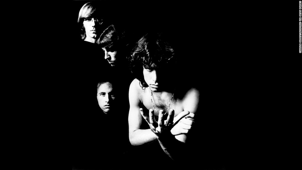 From left, Manzarek, Robbie Kreiger, John Densmore and Jim Morrison pose in the studio. The Doors formed in 1965 after Manzarek happened to meet Morrison on California's Venice Beach.