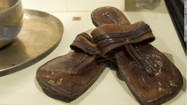 Mahatma Gandhi's famous sandals and other memorabilia pictured here on display in 2009 in New York.