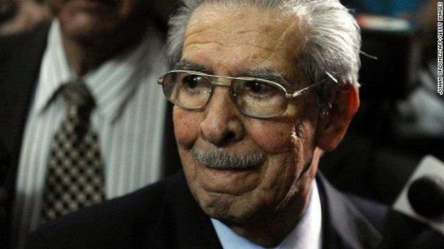 Former Guatemalan de facto President (1982-1983), retired General Jose Efrain Rios Montt, 86, is seen after listening his sentence on charges of genocide committed during his regime, in Guatemala City, on May 10, 2013.