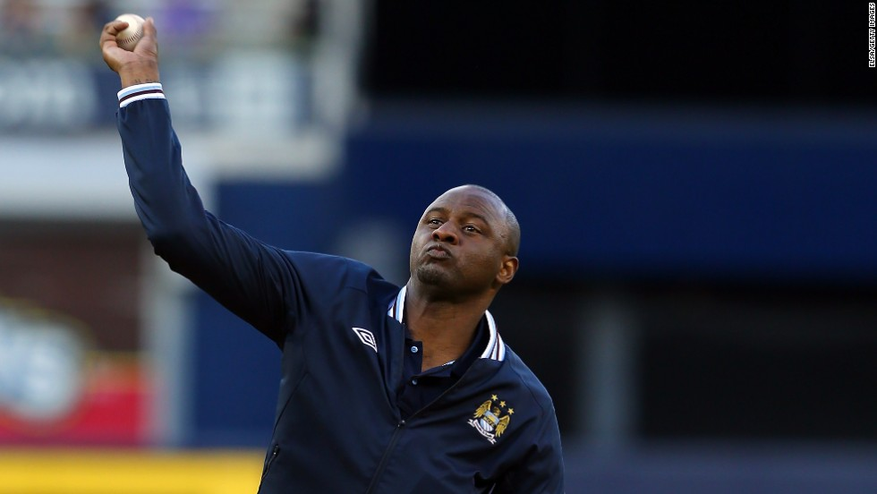 Former Manchester City star Patrick Vieira threw a ceremonial pitch at a recent New York Yankees game against Toronto.