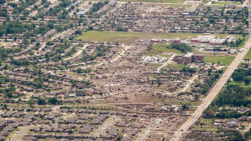 An aerial view of the destruction on May 21.
