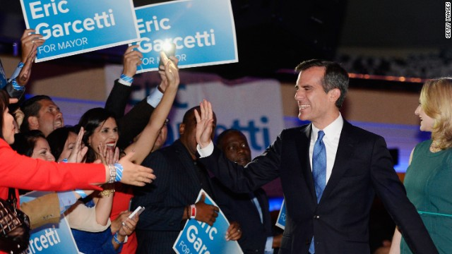 """""""I am honored to lead this city for the next four years,"""" said Los Angeles Mayor-elect Eric Garcetti."""