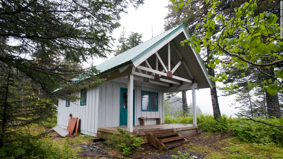Holgate Public Use Cabin at Kenai Fjords National Park in Alaska has a roof and four walls but no water or electricity. Located a 2-4 hour boat trip or 35-minute flight from Seward, it's only open during the summer months.