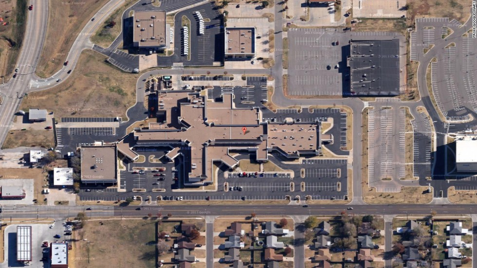 An undated satellite view shows Moore Medical Center before the May 20 tornado.