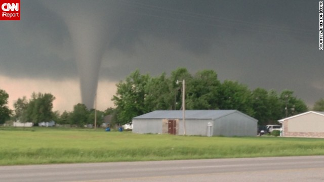 CNN iReporter Brenton Leete took this photo of the tornado on the ground in Moore, Oklahoma, on Monday.