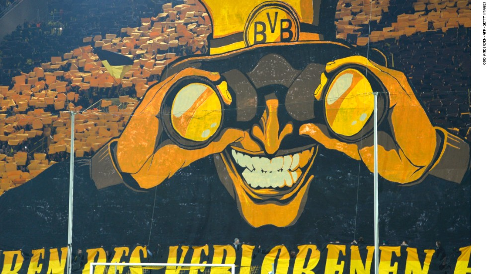 While Dortmund's players have produced on the pitch, its fans have done likewise in the stands with a number of outstanding montages on the famous Sudtribune terrace.