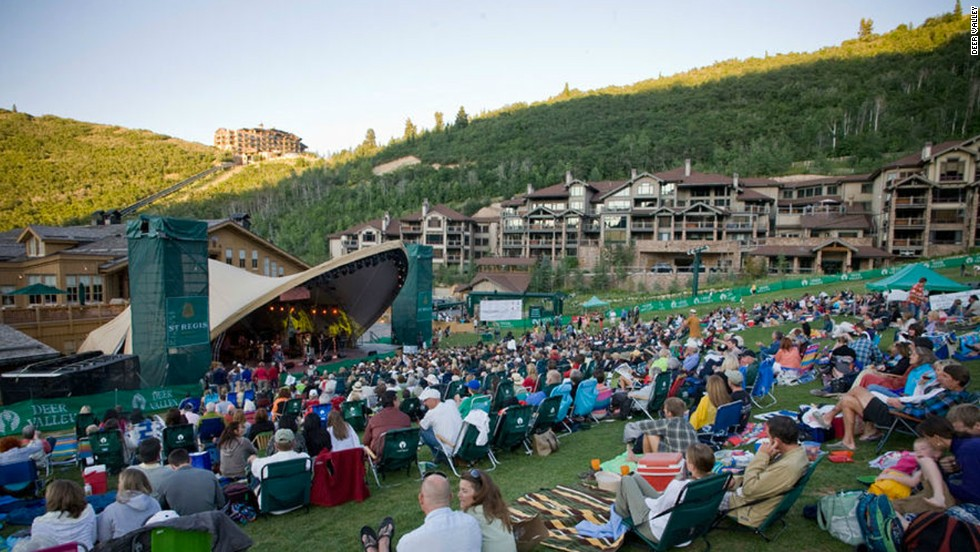 Snow Park Outdoor Amphitheatre in Park City, Utah, hosts the Deer Valley Music Festival from late June through mid-August.
