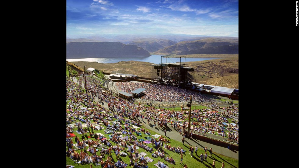 The Gorge Amphitheatre in George, Washington, boasts a scenic Columbia River view.