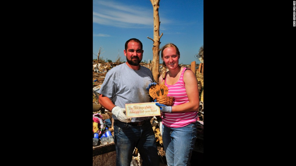Thomas and Kelcy Trowbridge found a basket adorned with footprints from one of their two children.