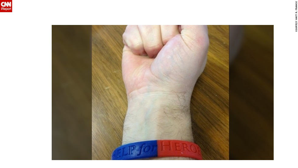 Brother to a serving soldier, Matt R. Francis displayed his armband in honor of the Help for Heroes charity.