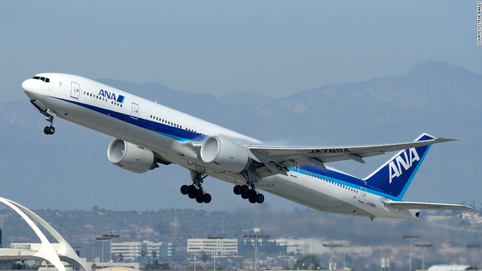 An All Nippon Airways Boeing 777 takes flight at LAX, as seen through the lens of plane spotter Steve Bailey.