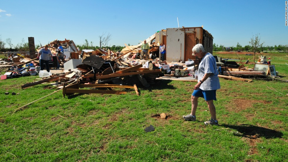 Kay Taylor lives next door to her 94-year-old aunt, whose home was destroyed by tornadoes in 1999 and this week. Both women plan to stay on this land.
