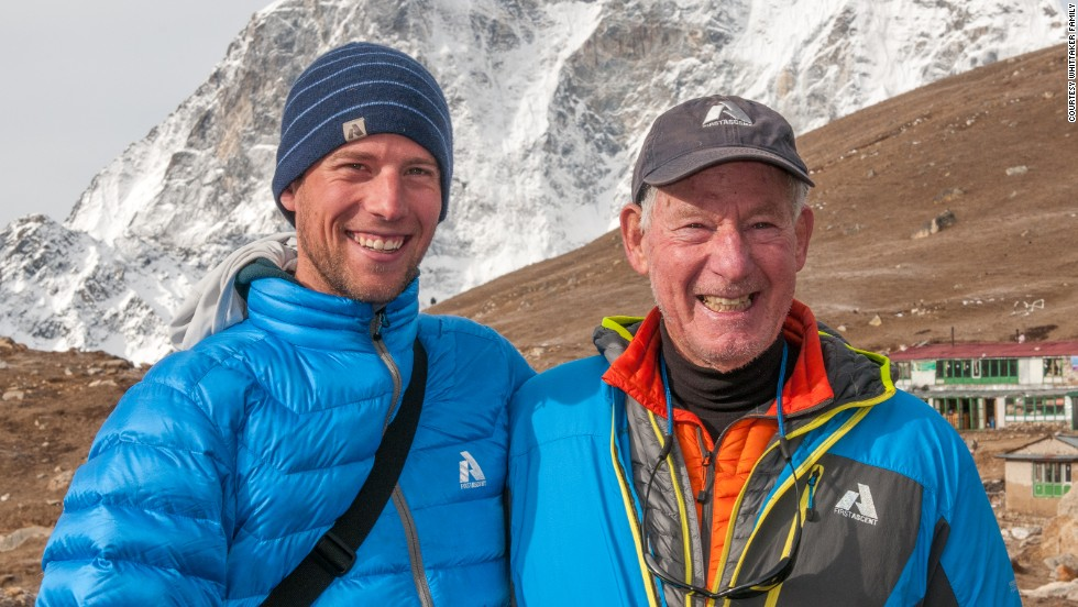 Whittaker, right, and his son, Leif, near Everest base camp in 2012.