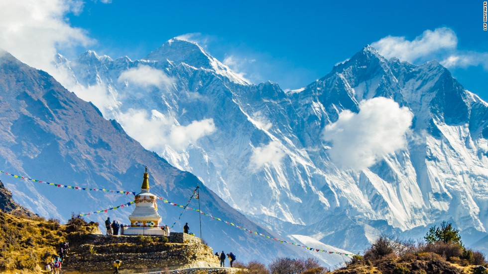 A Buddhist stupa on the trail to Mount Everest Base Camp in 2012.