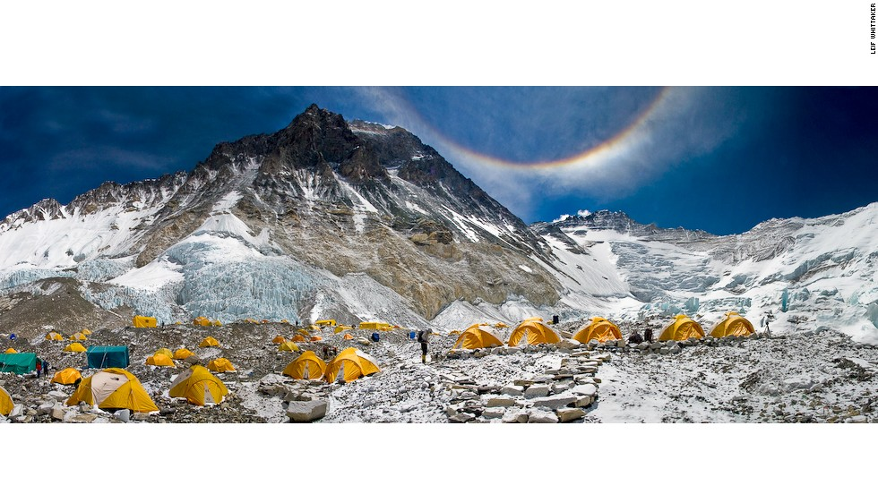 Camp 2, at 21,300 feet, in an Everest featured named the Western Cwm, in 2010.
