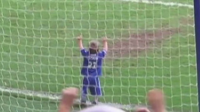 Adorable boy kills it with soccer goal